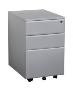 SUMMIT METAL MOBILE PEDESTAL,2 Drawer 1 Filing,400mm x 520mm x 620mm Silver
