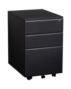 SUMMIT METAL MOBILE PEDESTAL,2 Drawer 1 Filing,400mm x 520mm x 620mm Black