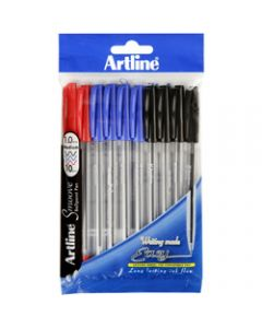 ARTLINE 8210 SMOOVE BALLPOINT,Pen Medium Assorted,Colours Pack of 10