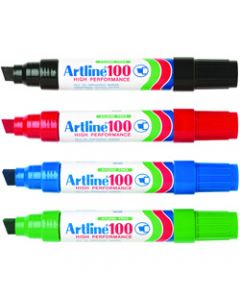 ARTLINE 100 PERMANENT MARKERS,Chisel 12mm Jumbo,Assorted Pack of 6