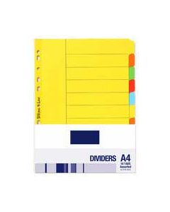 Generic 10 tab dividers brd a4 assorted colour - each