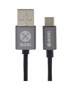 Moki MicroUSB Braided Cable,Gun Metal