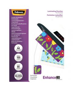 Fellowes Laminating Pouches,A4 80 Micron,Pack of 100