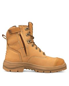 Boot - Lace Up/Zip Side Safety 150mm Oliver AT55 Full Grain Leather c/w Scuff Cap PU/Rubber Sole Water Resistant Wheat