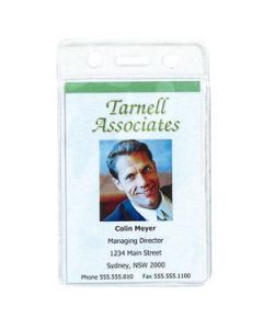 Name Badge Id Holder  Soft Portrait Clear Pk10