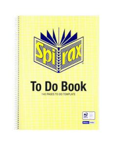 "Book Spiral Spirax ""To Do"" Book A4 140Pg"