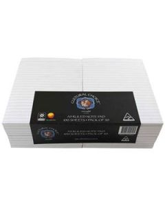 Cultural Choice A5 ruled note pad 100 sheet white - pack of 20