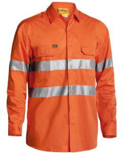 Shirt - Bisley Cotton Drill 155gsm HI VIS D/N c/w Tape Cool L/Weight L/Sleeve Orange - S