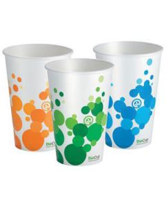 Cups Paper Biocup 12Oz 375Ml Sgl/Wall Wht Ctn1000