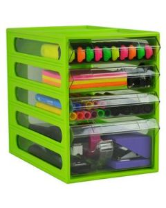 Desk Organiser Mini Cabinet 4 Drawer Lime Ea