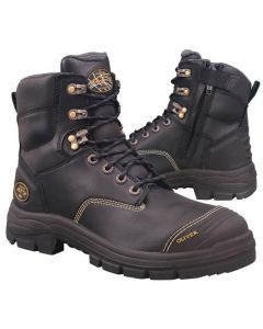 Boot - Lace Up/Zip Side Safety 150mm Oliver AT55 Full Grain Leather c/w Scuff Cap PU/Rubber Sole Water Resistant Black