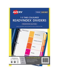 Dividers Avery Readyindex 1-5