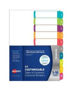 Dividers Avery Customisable Contents  1-10