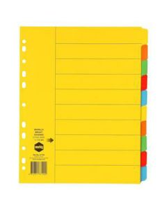 Dividers Cardboard A4 Index 10 Tab Col Extra Wide