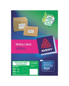 Labels Laser Avery L7167Ev Enviro 1Up 100S Recy Bx