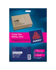 Labels Laser Avery L7565 8/Sht Crystal Clear Pkt25