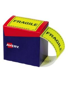 Labels Disp. Pack 75 X 99.6Mm Fragile Ylw Box-750