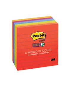 Post-It Notes 98X98 S/Sticky Lined E/Glow Pkt-6