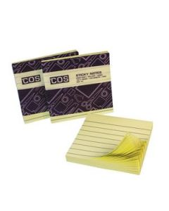 Premium Sticky Notes Lined 76X76 Yellow Pkt-12